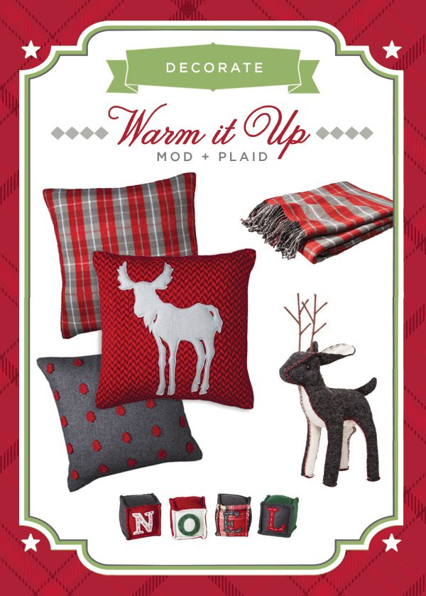 plaid christmas decor and felt reindeer