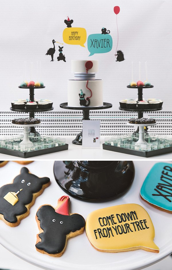 modern party animal dessert table and cookies