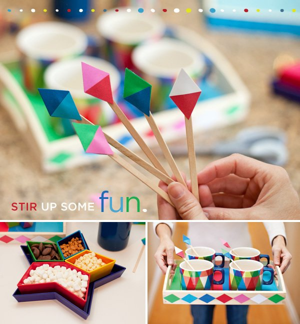 geometric triangle stir sticks, party tray & cocoa bar toppings