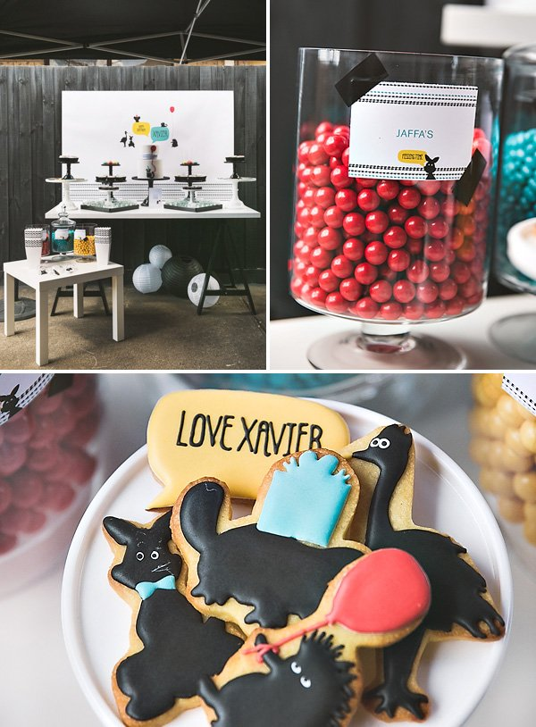modern animal themed dessert table and cookies