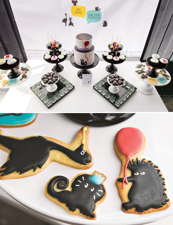 mod party animal dessert table