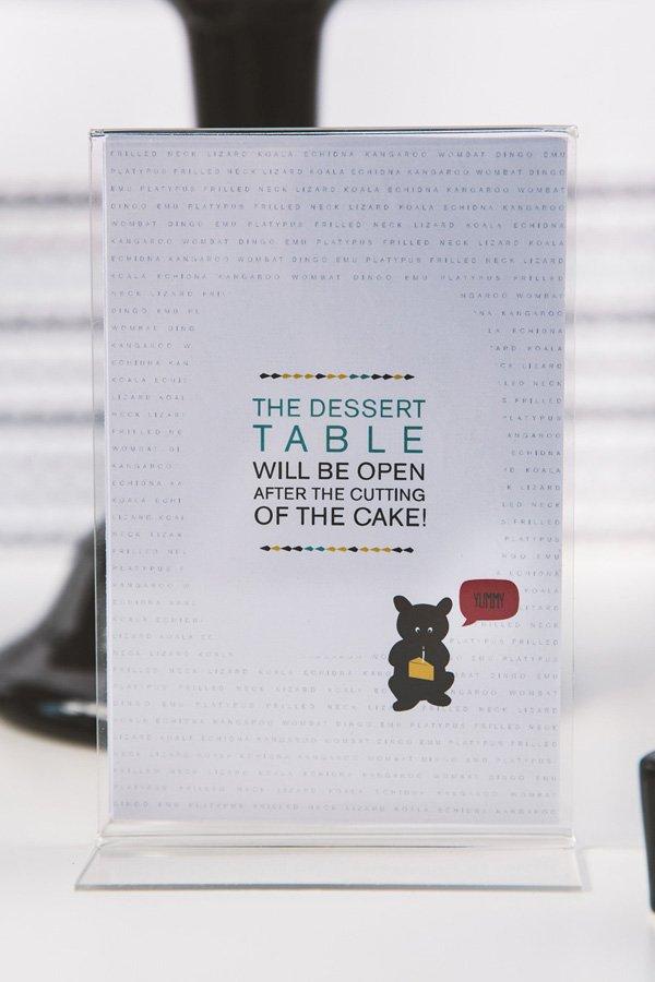modern dessert table sign