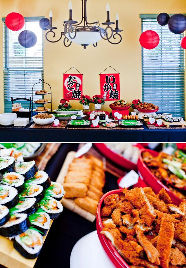 ninja themed boy's birthday party food ideas with a japanese twist