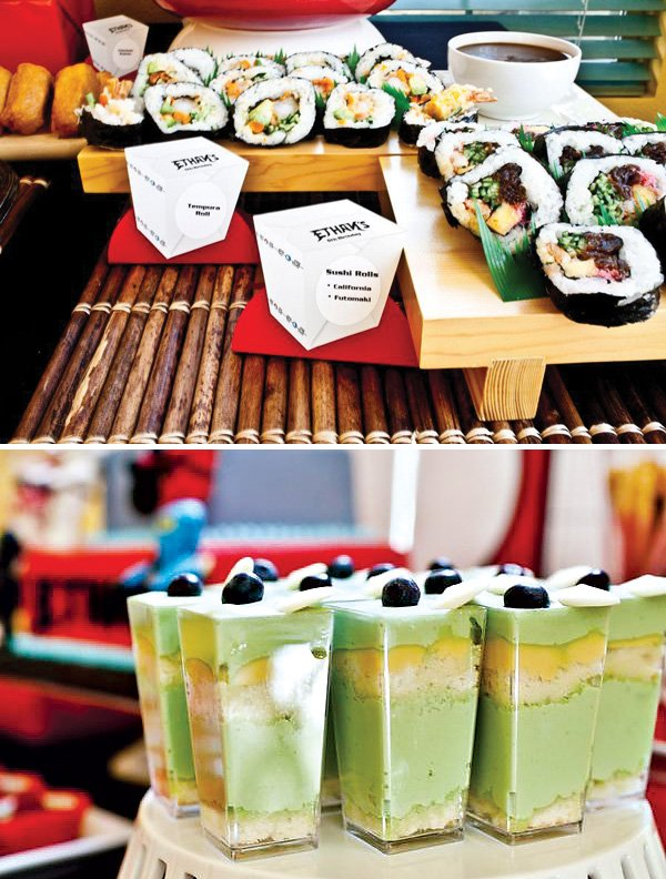 green tea parfaits and sushi for a japanese themed lunch buffet at a ninjago boy's birthday party