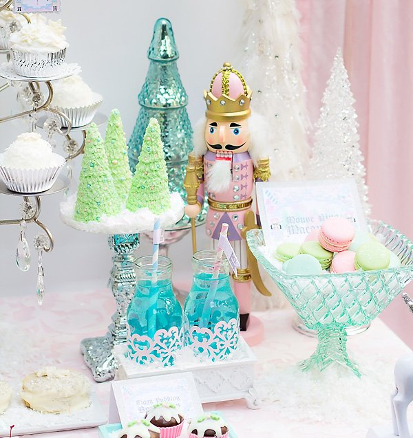 nutcracker toy soldier on desserts table for sugarplum fairy christmas holiday birthday party