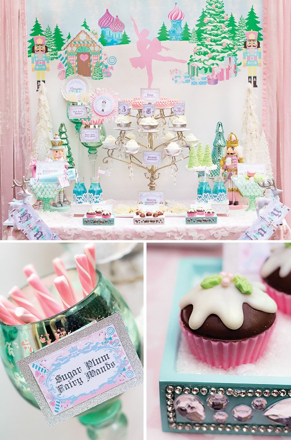 land of sweets dessert table with chocolate cupcake and fairy wands for a nutcracker birthday party