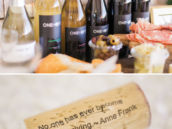 onehope wine bottles and typed quote corks for a holiday party