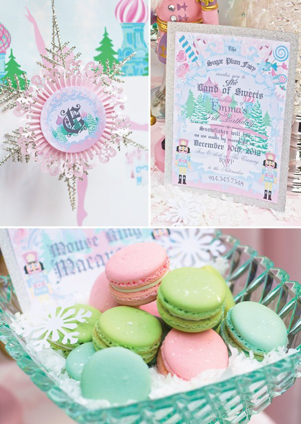 pink, green and blue nutcracker printables, ballerina invitation and macarons