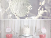 pink and white winter dessert table