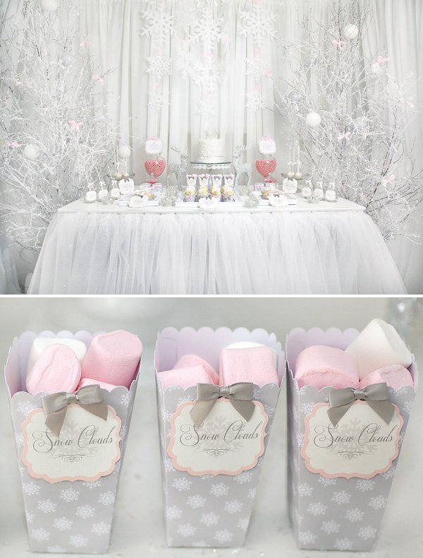 pink white snowflake princess party