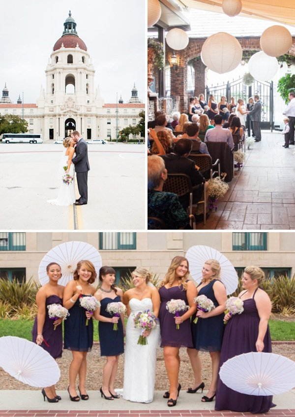 purple and navy mismatched bridesmaids dresses and brick wedding venue