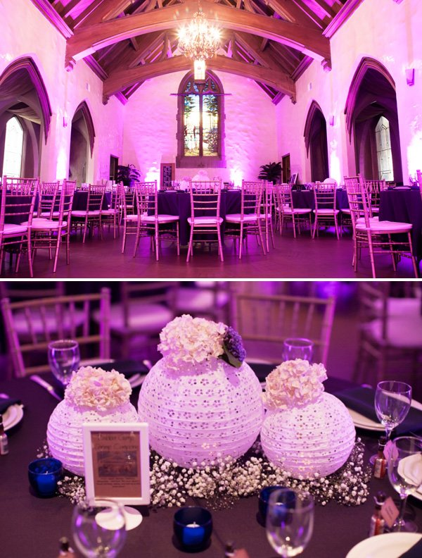 purple wedding reception with eyelet lace lantern centerpieces