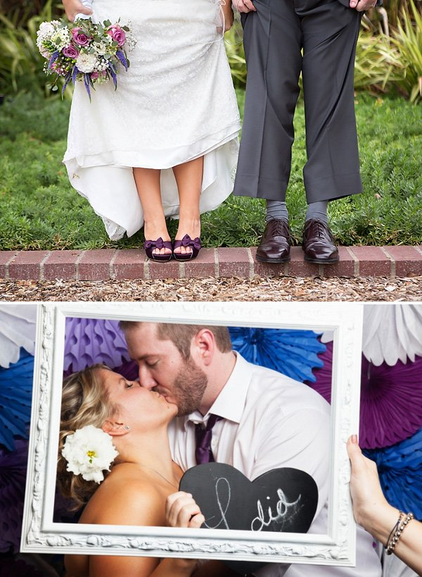 purple wedding shoes and framed photo booth kiss