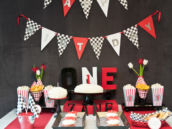 race car first birthday dessert table