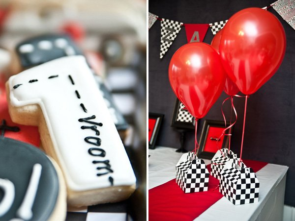 race car vroom cookies and checkered gable box favors