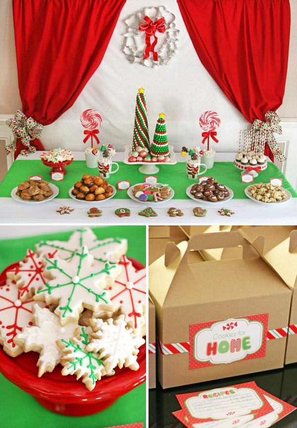 red and green christmas cookie exchange with snowflake sugar cookies