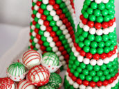 red and green white chocolate truffles and gumball christmas tree