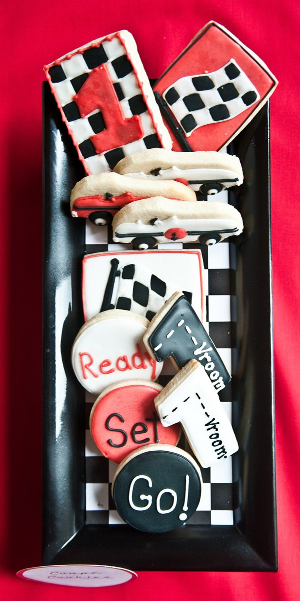 red white black race car cookies