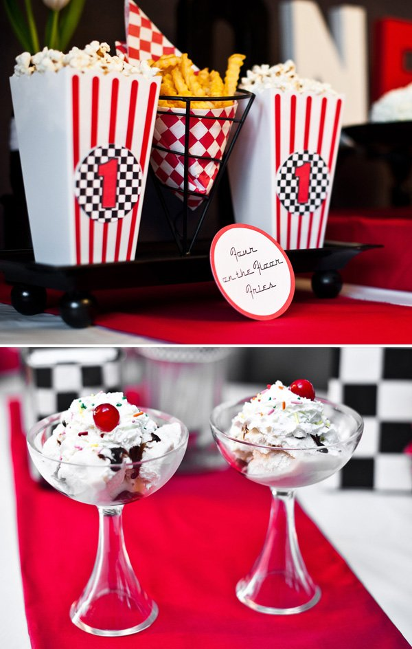 race car party popcorn and diner sundaes