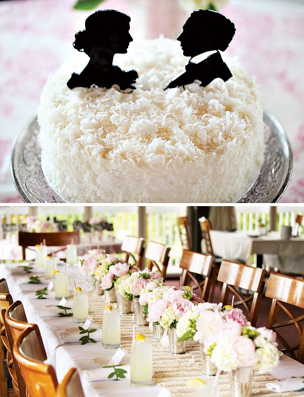 romantic white bridal shower coconut cake with cameo toppers and tablescape