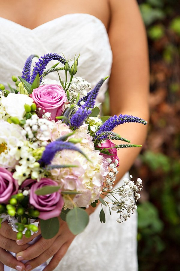 wild and romantic pink and purple wedding bouquet