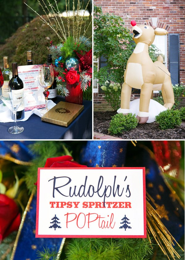 festive branch and ornament centerpieces and blow up reindeer