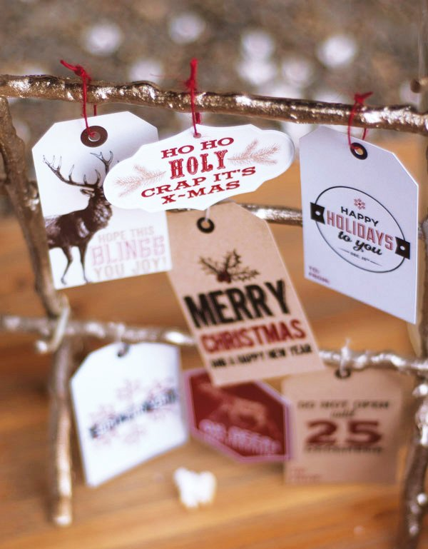rustic woodland gift tags for the holidays or christmas