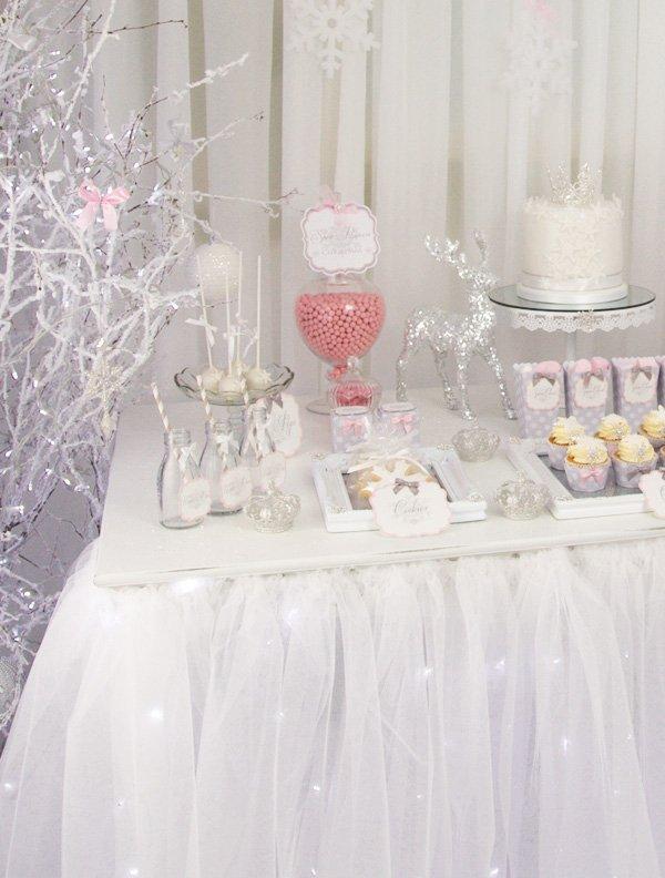 pink white snowy dessert table