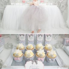 snowflake cupcakes and snow princess dessert table