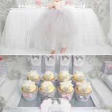 snowflake cupcakes and snow princess dessert table
