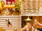 DIY sparkly decor with gold limes, mason jars, pinatas and champagne flutes