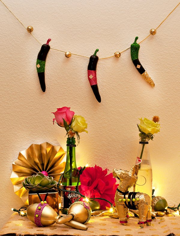 glittered chili pepper garland and other gold decorations for the sauza fiesta by HWTM