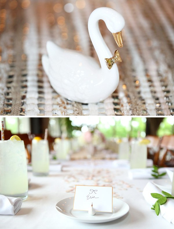 bridal shower centerpiece swan figurine with bowtie and little swan place card holders