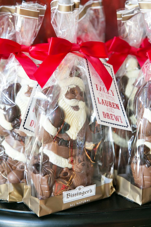 Chocolate Santa party favors for a tacky christmas engagement party