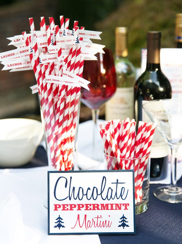 chocolate peppermint martini, red and white striped straws and eat drink and be tacky drink flags for a tacky christmas engagement party