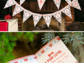 ugly christmas sweater themed bunting or garland and poem invitation