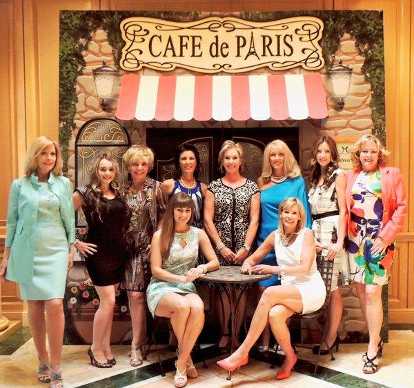 vintage paris party guests sitting at popup cafe