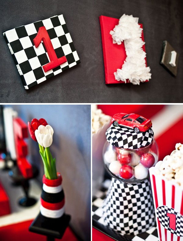 race car birthday party decorations - black white check
