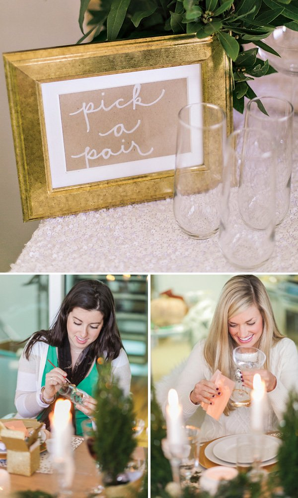DIY make your own gold leafed champagne or wine glass craft or project