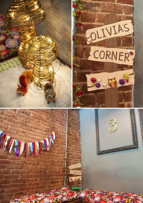 woodland kids birthday party decorations featuring rag tie bunting, mushrooms lamps, and a framed 3