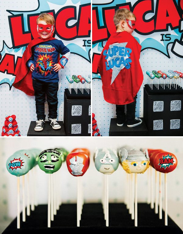 superhero avengers birthday party with avengers cake pops and personalized cape