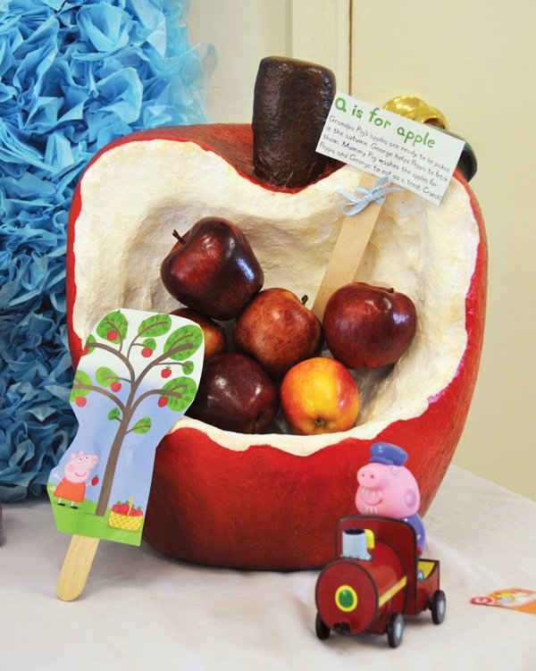 paper mache apple basket for a peppa pig birthday party
