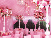 formal pink baby shower tent and canopy with amazing floral centerpieces