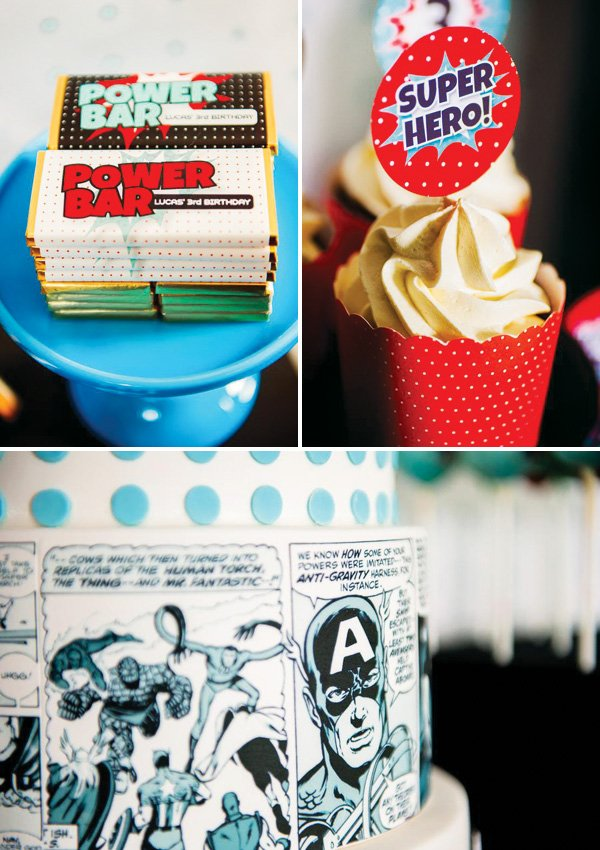 comic book cake and superhero printables