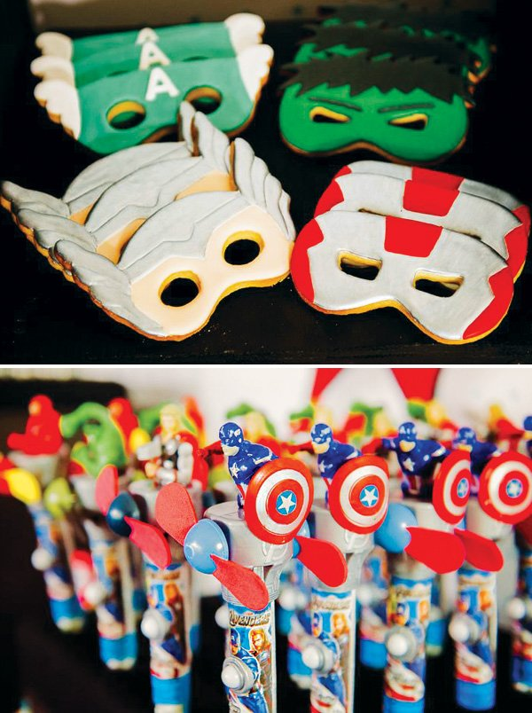 superhero mask cookies and captain america fans
