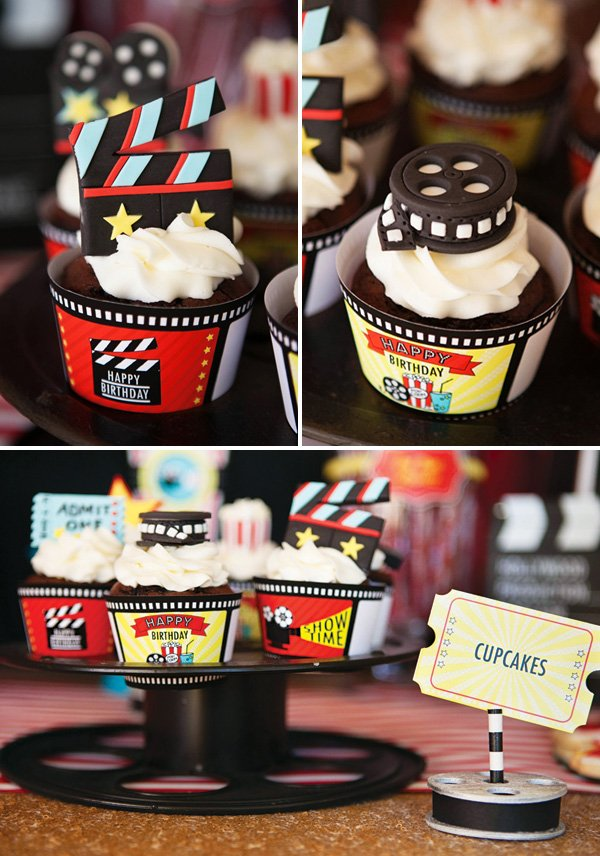 movie themed birthday cupcakes