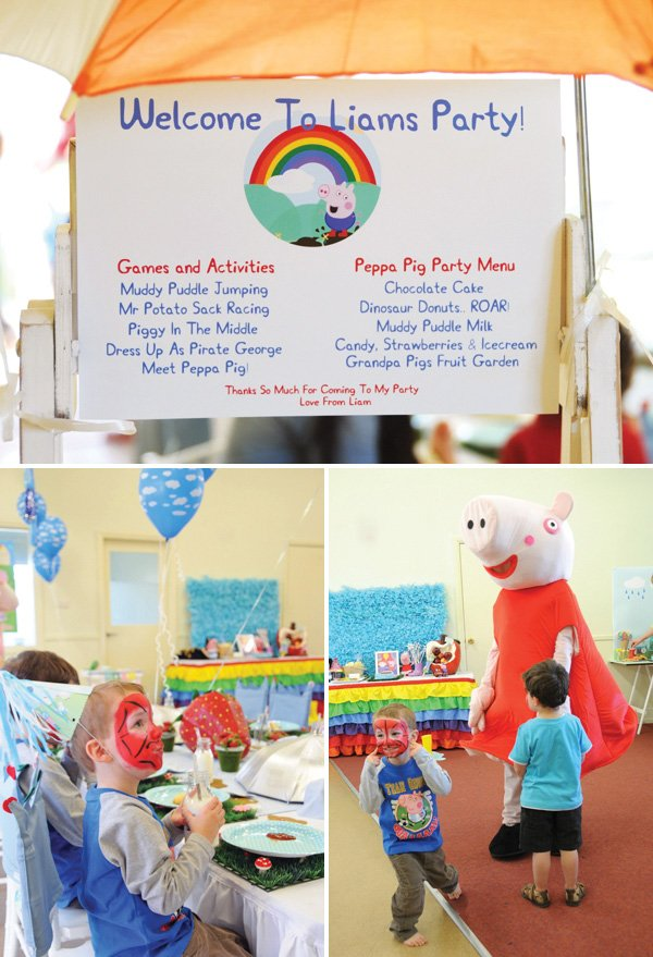 peppa pig welcome sign and character