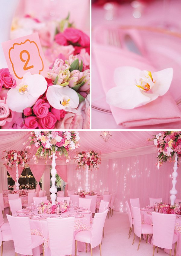 formal dining table setting for a pink baby shower with orchids