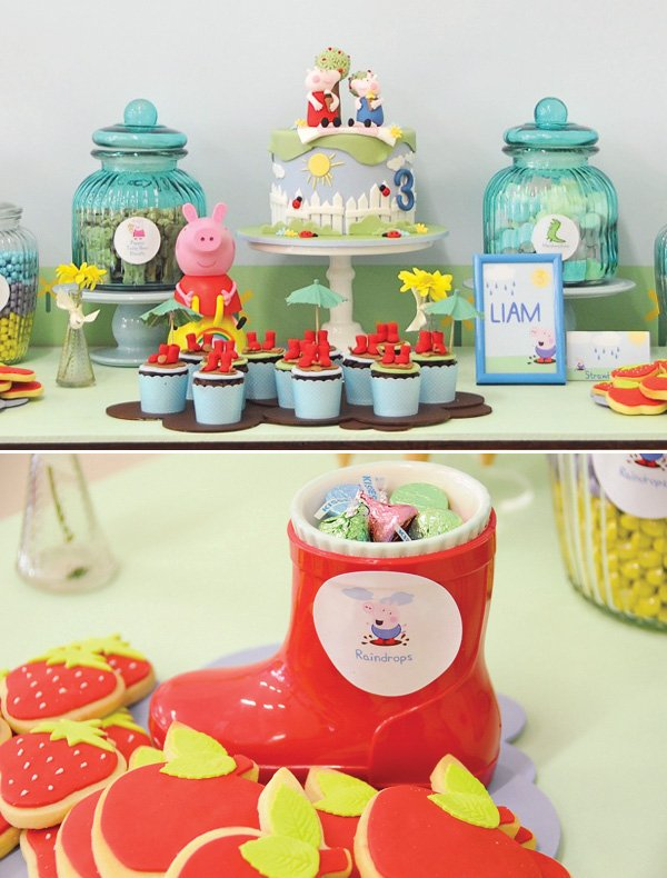 peppa pig dessert table rain boot candy dishes