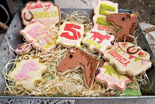 vintage pony party sugar cookies
